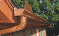 A copper colored gutter system